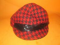 Ubi Women's Red/black Hat Lined Cap Beret Driving Hat-new