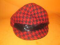 Ubi Women's Red/black Hat Lined Cap Beret Driving Hat-new