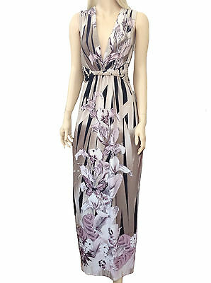 Womens Stone Black Floral Butterfly Plunge V Evening Party Maxi Dress 6 8 10 12
