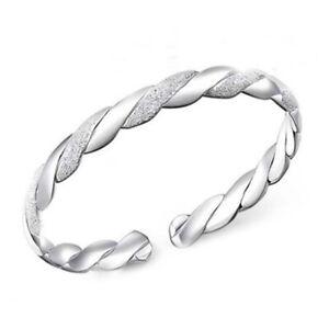 Silver-Stripe-Cuff-Bangle-Bracelet-Fashion-Girls-Charm-Chain-Jewelry-Gift-L2E-1I
