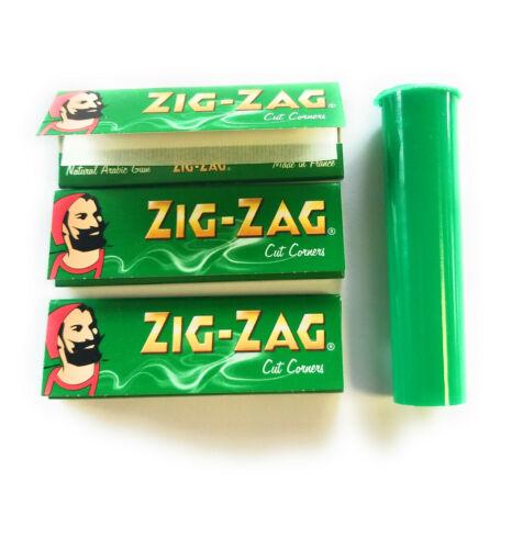 Regular 50 leaves per pack 3 Packs Zig Zag Green Rolling Papers plus J Tube