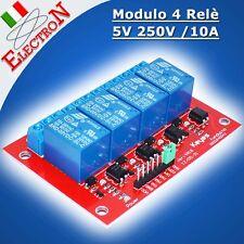 Modulo 4 Relè 5V 250v/10A Relay Module opto SHIELD Arduino Pic Atmega Raspberry