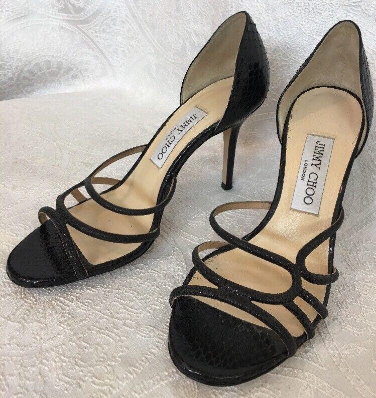 Jimmy Jimmy Jimmy Choo Zapato Negro Serpiente Alto Punta Abierta Sandalia Talla 37 1 2  vendiendo bien en todo el mundo