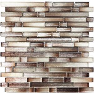 Brown Silver Brushed Metallic Glass Mosaic Tile Kitchen Wall