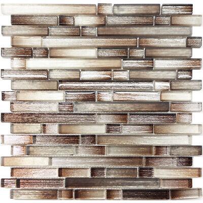 Brown Silver Brushed Metallic Glass Mosaic Tile Kitchen Wall Backsplash |  eBay
