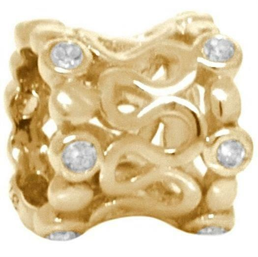 Valcan 12 Diamond 9K 9ct 375 Solid gold Bead Charm FITS EURO BRACELETS