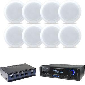 "8 5.25/"" 150W In-Ceiling Speakers 300W Receiver /& Selector Pyle"