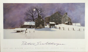 Hilltop Farm Par Peter Sculthorpe Estampe 1987 Affiche - Épuisé 24x40 Douceur AgréAble
