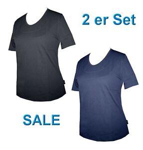 2 Stück Schneider Damen Shirt Pulli T-Shirt Kurzarm Shirt schwarz blau 40 / 42
