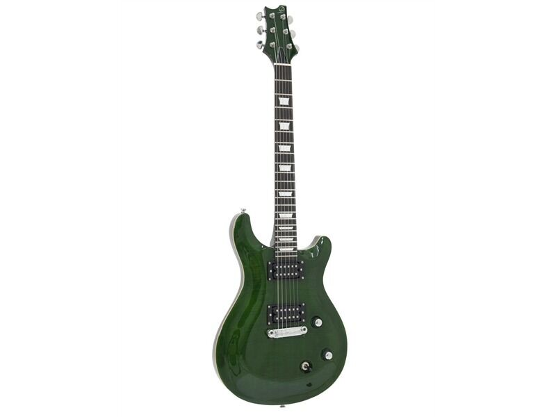 DIMAVERY DP-600 flamed grün - Modern-style E-Gitarre