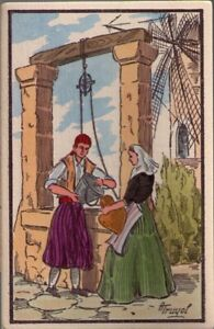 118r-Postcard-Man-and-Woman-at-Well