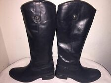 Women's Frye Melissa Button Leather Riding Boots Black Size 7-B Style 77167