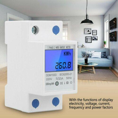 Digitale Stromzähler Wechselstromzähler Hutschiene KWh Zähler Wattmeter 5-32//80A