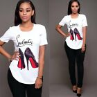 Women Lady Short Sleeve Tees T-Shirt Casual Blouse Tops Shirt High heels Printed
