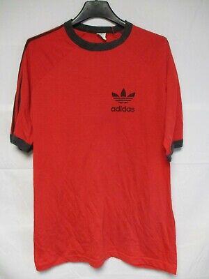 T shirt ADIDAS vintage années 80 rouge oldschool TREFOIL shirt jersey L | eBay