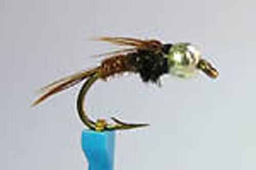 1 x Mouche Nymphe Faisan BILLE TUNGSTENE OR H10 a 18 tungsten bead fly hare