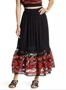 be50c709a9 Free People Rosebud Embroidered Tube Maxi Long Skirt Black Red Combo ...