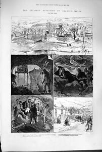 Old-Antique-Print-1880-Glamorganshire-Mining-Pen-Y-Graig-Colliery-Wales-19th