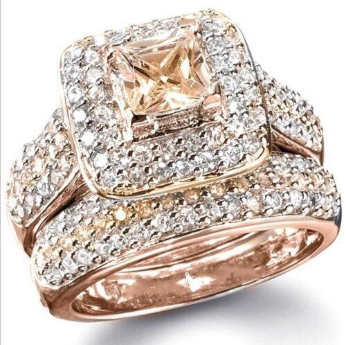 2PC Taille Princesse Carré Champagne CZ Plaqué or Rose Bridal Ring Set J856