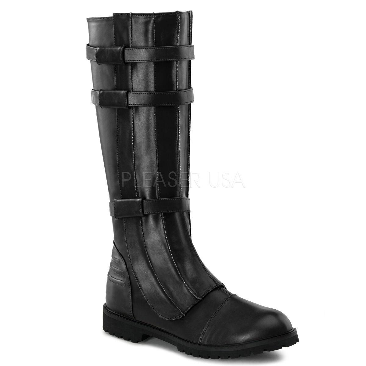WAL130 B PU Men's Combat Military Fantasy Cosplay Black Halloween Costume Boots
