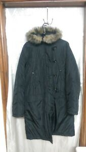 Women Hood Jacket Fur Coat Size 14 Long Black Mexx Faux BwUYadax