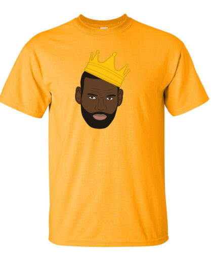 "GOLD Lebron James Los Angeles Lakers /""King Pic/"" T-Shirt"