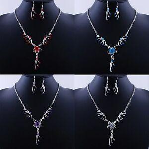 Schmuckset-Set-Blume-Kette-Ohrringe-Blau-Rot-Lila-Weiss-Strass-Farbe-Silber-Neu