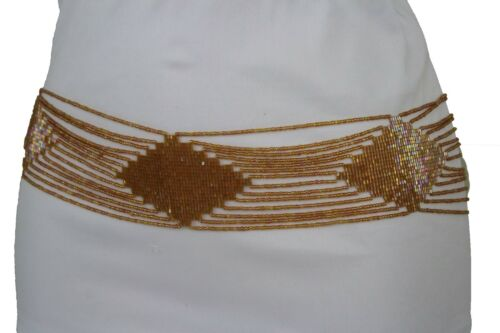 New Women Fashion Belt Gold Beige Hip High Waist Beads Geometric Plus M L XL XXL