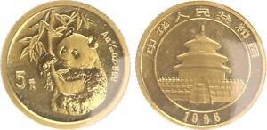 China 5 Yuan Panda 1995, 1/20 Unze originalverschweißt, st