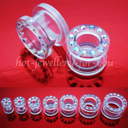 ACRYLIC SCREW BACK FLESH TUNNEL EAR PLUG WITH ACRYLIC RHINESTONES DIAMOND GEMS