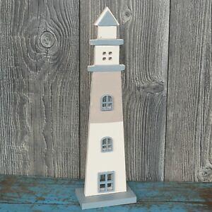 Details zu Leuchtturm 38cm groß Holz maritim grau weiß Deko Dekoleuchtturm  Badezimmer Bad