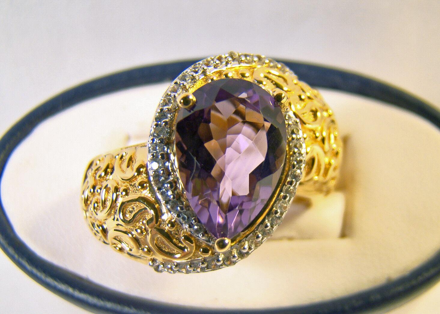b990dcf1b00e4 Amethyst Genuine Cut Pear ct 3 Beautiful gold Paisley Ring 8.5 Sz ...