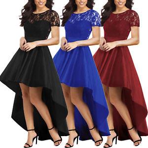 info for 40b02 c6760 Dettagli su Vestito donna lungo asimmetrico abito pizzo elegante coda  maniche corte DL-2263