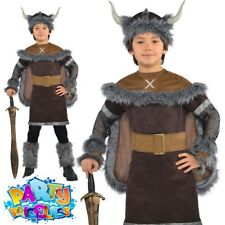 Boys Deluxe Viking Costume Warrior Saxon Historical Kids Fancy Dress 5-13 Years