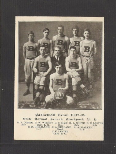 190708 BASKETBALL M PHOTO CARD STATE NORMAL SCHOOL SUNY, BROCKPORT, NY