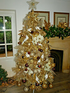 Details About 5ft 6ft 7ft 8ft Luxury Gold Champagne Christmas Tree Glitter Tips