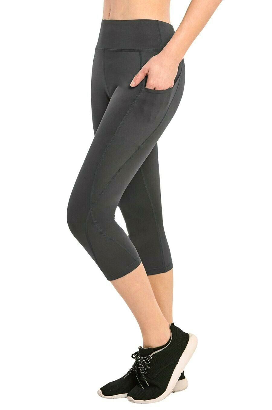 New Sofra Ladies Athletic Stretch Capri Leggings With Side Pockets