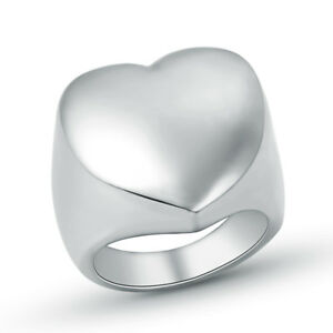 Fashion-Stainless-Steel-Silver-Women-Big-Heart-Pretty-Finger-Ring-Size-7-11