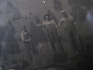 c1870s-TINTYPE-of-MEN-amp-BOY-in-OVERALLS-on-WATERGATE-DAM-BAKER-OREGON