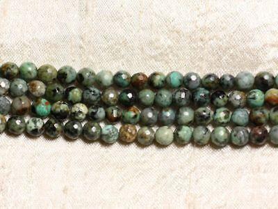 Fil 39cm 63pc env Turquoise d/'Afrique Boules Facettées 6mm Perles de Pierre