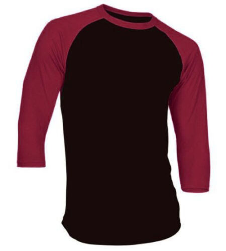 New 3//4 Sleeve Raglan Baseball Mens Plain Tee Jersey Team Sports T-Shirt S-3XL