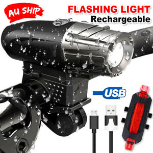 USB-Rechargeable-Warning-Bike-Lights-LED-Bicycle-Front-Rear-Tail-Lamp-OZ