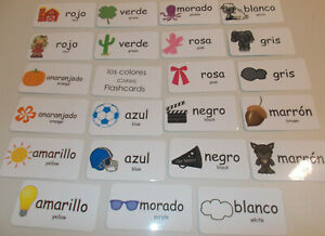 Details About Colors In Spanish Flash Cards Preschool Foreign Language Picture Flash Cards