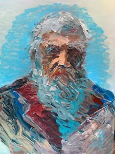 Abstract Portrait Charles Darwin Science Evolution Wall Art Original Painting