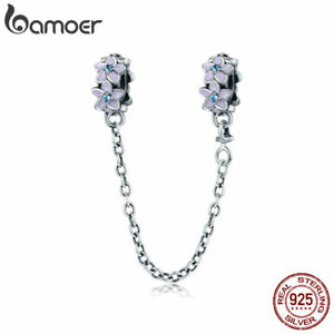 Bamoer-Authentic-S925-Sterling-Silver-Safety-Chain-Purple-Flowers-For-Bracelets
