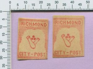 Last 2 VA Richmond City Post Confederate Forgery Cannon w Balls Stamp s