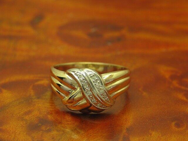 14kt 585 yellowgold Ring mit Diamant Besatz   3,9g   RG 55