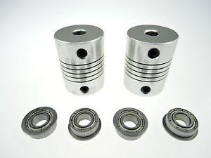 4x-MF105ZZ-Bearing-2x-CNC-Motor-Shaft-Coupler-Coupling-for-3D-Printer-Prusa-i3