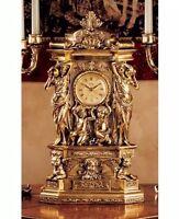 Rococo Gold Mantle Clock Cherubs Greek Classic Style Baroque Timepiece Ornament