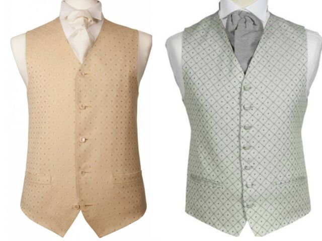MENS WEDDING SILVER GREY OR GOLD IVORY DIAMOND DRESS SUIT WAISTCOAT